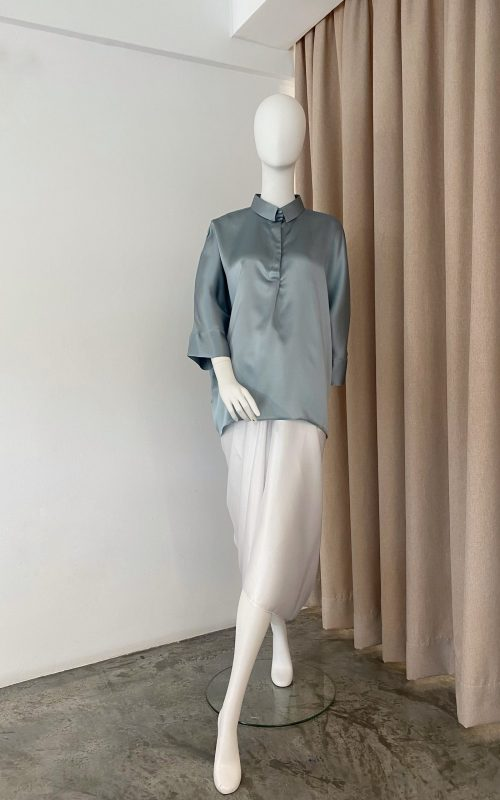 Rossa Top – Sleepy Blue Plain Satin Silk